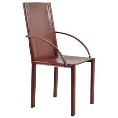 Italian Six Red Brown Leather Chairs with Armrest Signed by Matteo Grassi, 1980s