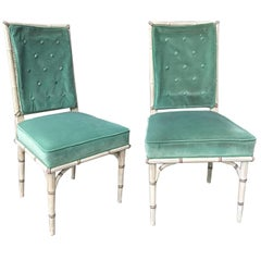 Pair of 20th Century Chic Highly Styled Faux Bamboo Side Chairs