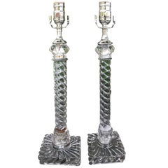 Pair of 19th Century Crystal Twist Lamps Attributed to Baccarat