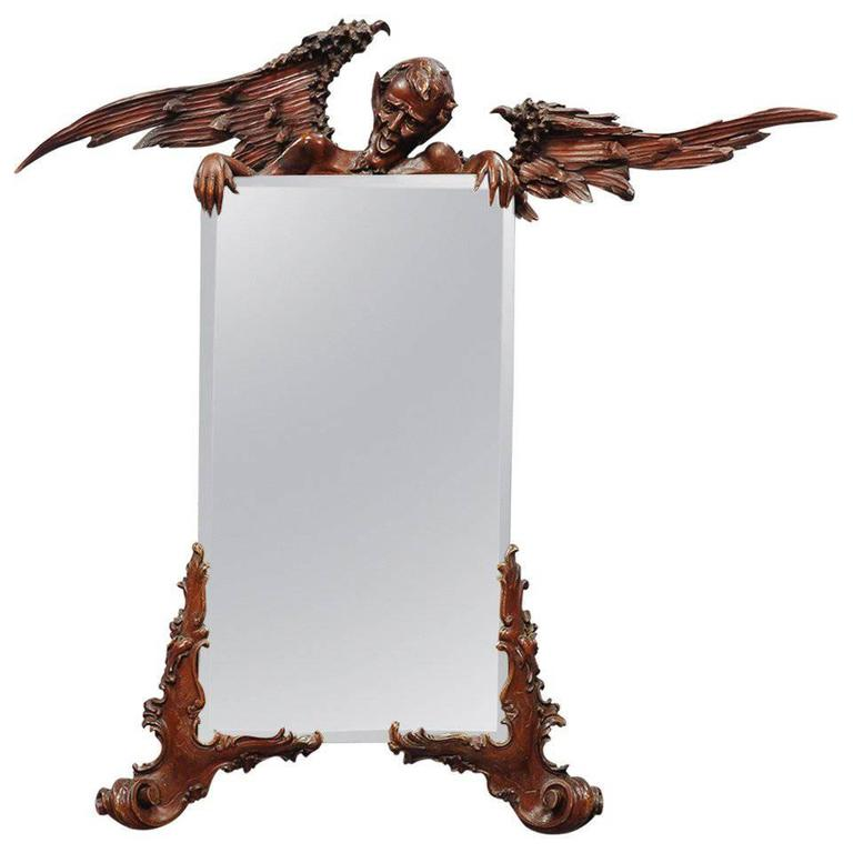 Victorian Mirror with Carved Wood Satyr, California, 1880