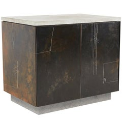 "Patinated & Drawn Steel, Cast Concrete and Walnut ""S.O. Side Table v2"" Cabinet"