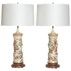 Japanese Satsuma Vase Pair as Custom Lamps