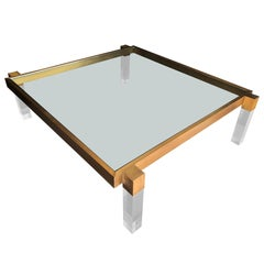 "Charles Hollis Jones ""Box Line"" Coffee Table in Lucite and Antique Solid Brass"