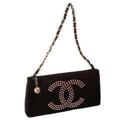Chanel Black Satin Beaded Faux Pearl Clutch Bag Handbag