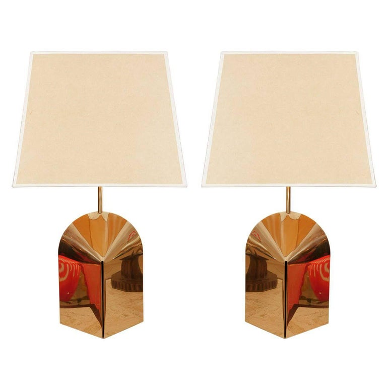Pair of Sculptural Brass Lamps with Period Shades