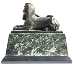 Early 19th Century Neo Classical Bronze Sphynx on Green Marble Base