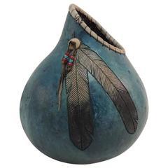 American Indian Painted Gourd Art Vase