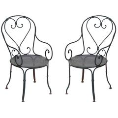 Pair of Grey Painted French Bistro Wrought Iron Garden Chairs