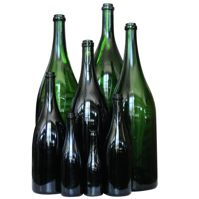 Set of Eight French Champagne Bottles