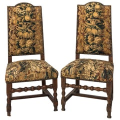 Pair of French Tapestry Hall Chairs