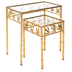 Faux Bamboo Gilt Metal Nesting Tables