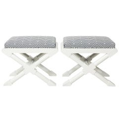 Pair of White Lacquered Benches