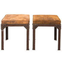 Pair of Industrial Iron Benches