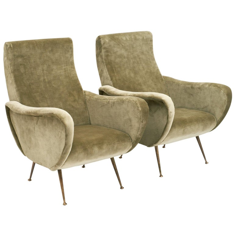 Marco Zanuso Style Italian Lady's Armchairs For Sale