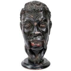 Venetian Carved Wood Portrait Bust of a Blackamoor