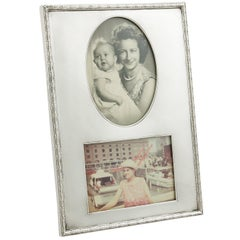 1910s Antique Sterling Silver Double Photograph Frame