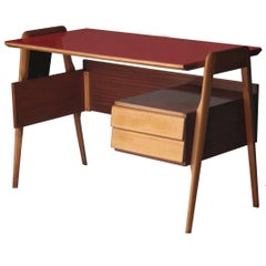 Desk Made of Birch and Rosewood, Italy, 1950