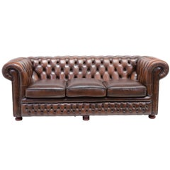 Vintage Chesterfield Sofa Three-Seat in Antique Brown Leather