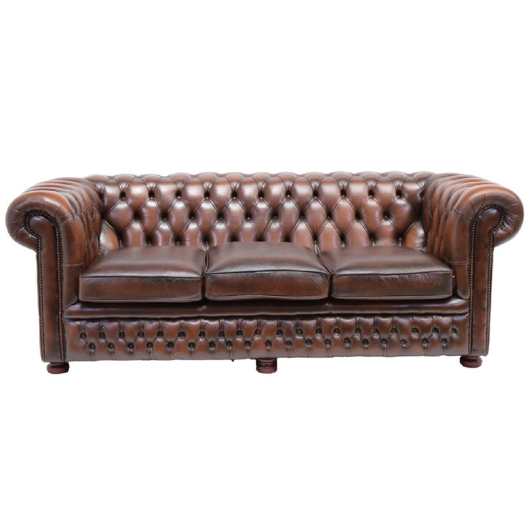 Vintage Chesterfield Sofa Three Seat In Antique Brown Leather For