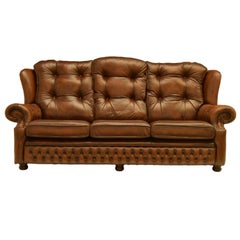 Delta Chesterfield Sandringham Settee in Antique Autumn Tan Brown