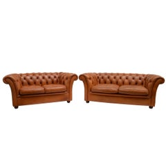 Original Delta Chesterfield 3+2 Settee in Cognac Cowhide