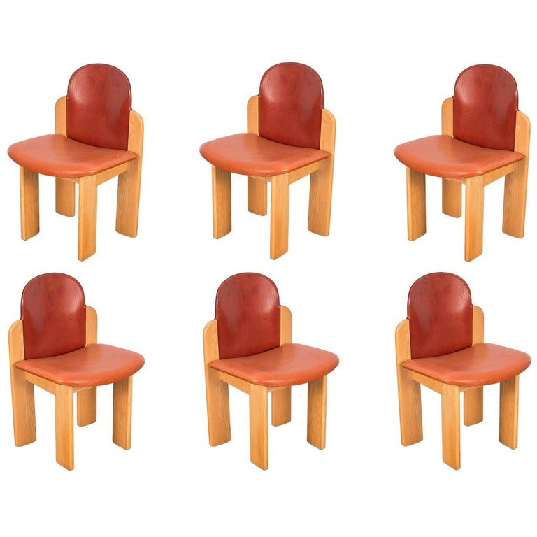 Set of Six Silvio Coppola Dining Chairs for Fratelli Montina