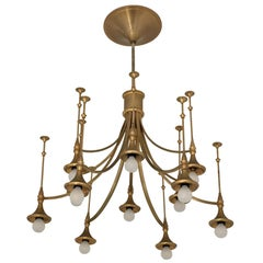 Large Gold Lacquered Chandelier, Italy, 1960s