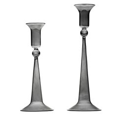 Set of Two Gray Classic Candle Holders