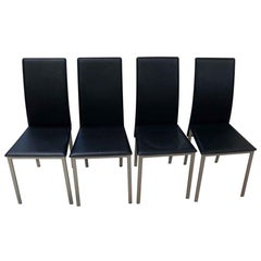 2010s Set of Four Black Mid-Century Modern Style Chairs with Aluminum Frame
