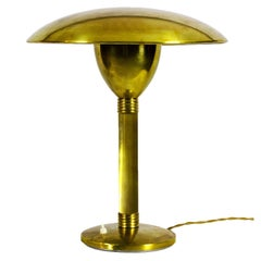 1930s Large Art Deco Table or Desk Lamp, Brass and Ivory Lacquer, Italy