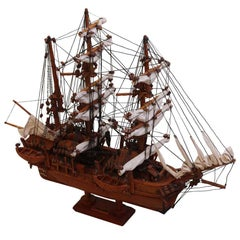 Hand-Carved Model Sailing Ship Boat of the 1841 Charles W. Morgan