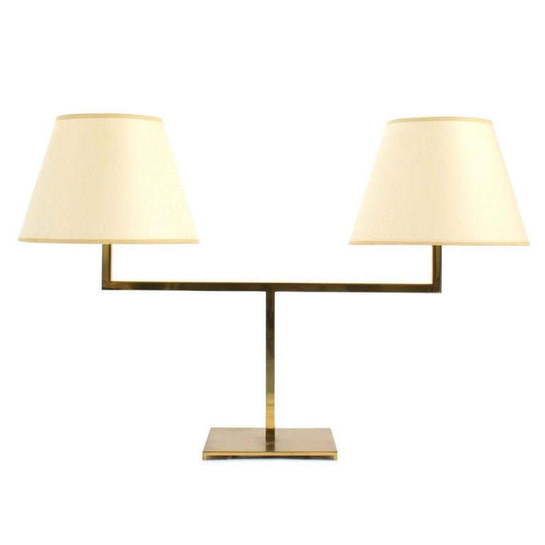 Brass Two-Arm Library style Desk Lamp