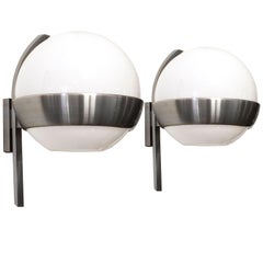 1960s Pair of Big Rounded Wall Lights, Nickel-Plated Brass and Opaline by Lumi