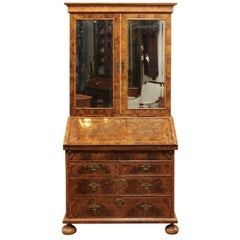 William & Mary Style Burled Walnut English Bureau Bookcase, Early 18th Century