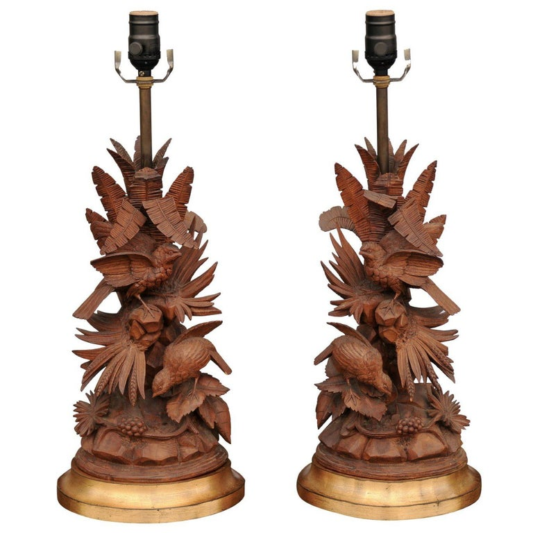 Pair of 1880s Black Forest Hand-Carved Oak Table Lamps with Birds in Foliage
