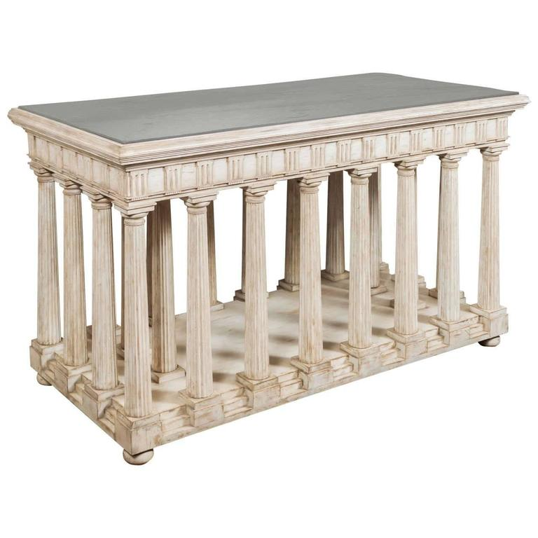Hand-Painted and Antiqued Slate Top Architectural Center Table For Sale