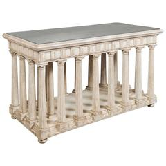 Hand-Painted and Antiqued Slate Top Architectural Center Table