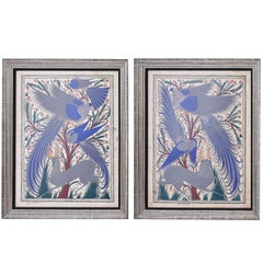 Pair of Juan Damaso Paintings on Papel Amate, Mexico, circa 1950