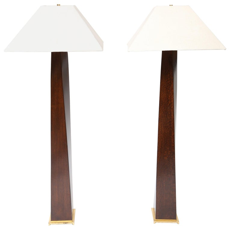 Karl Springer African Mekour Wood JMF Floor Lamps
