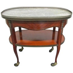 French Marble-Top, Two-Tier Rolling Bar Cart