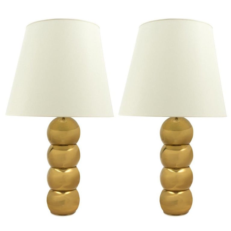 Pair of 1970s Bronze Stacking Ball Table Lamps