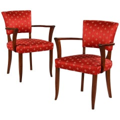 Pair of Red French Art Deco Bridge Armchairs Circa 1930s