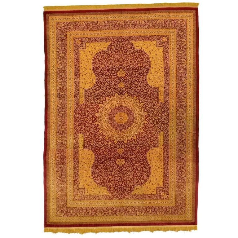 Beige And Red Pure Silk Qom Rug 1990 For