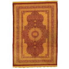 Beige and Red Pure Silk Qom Rug, 1990