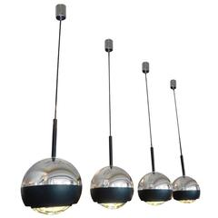 Set of Four Hanging Lamps by Stilnovo