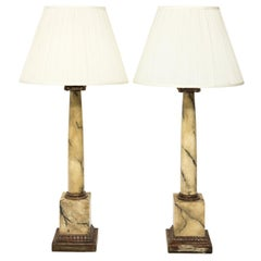 Pair of Painted Ionic Column Table Lamps