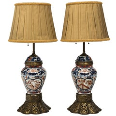 Pair of Japanese Porcelain Lamps by Imari