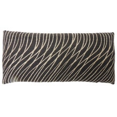 "Black and Natural ""Jakarta"" Woven Bolster Decorative Pillow"