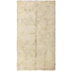 Ivory Background Vintage Moroccan Rug