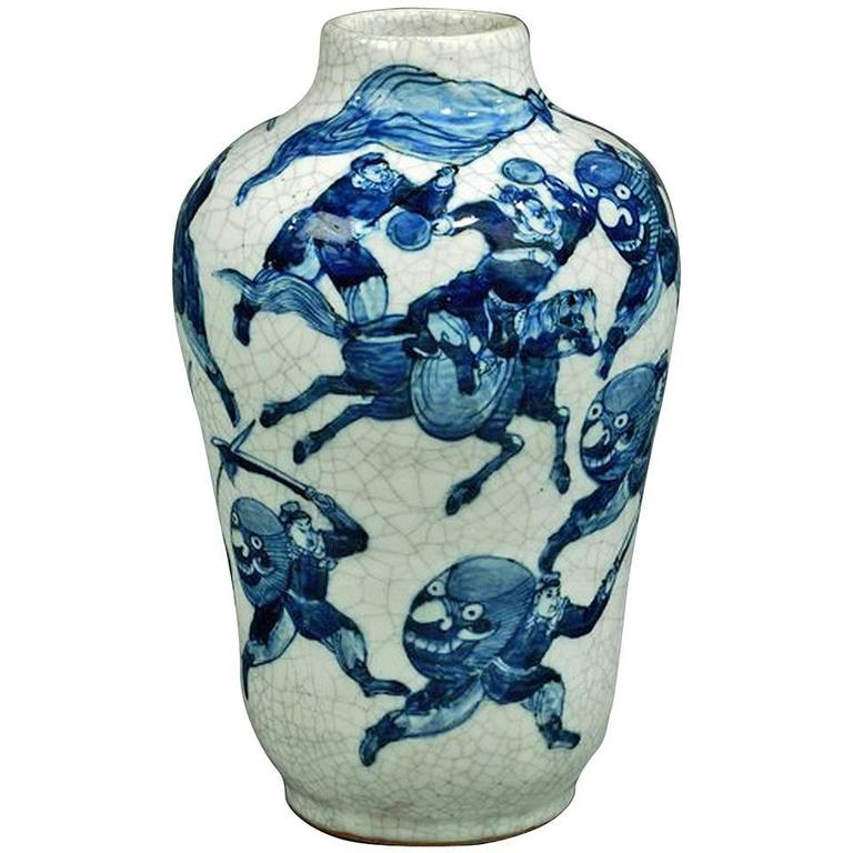 19th Century Blue and White Vase For Sale